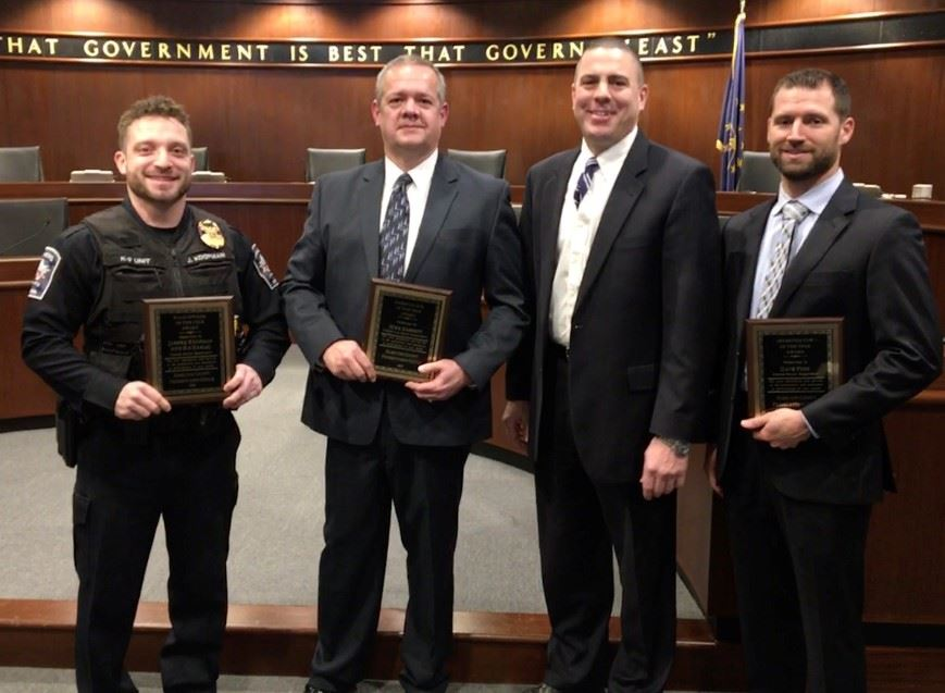 2019 Officers of the Year (L-R Ofcr. Koopman, Det. Haskett, PA Buckingham, and Det. Finn)