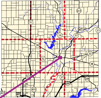 Court Location Map Showing County Roads and Courthouse Location