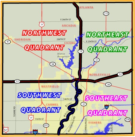 Hamilton County Northwest, Northeast, Southwest, and Southeast Quadrants Map