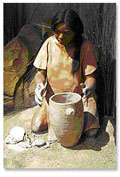 A painting of a young woman sculpting a pot